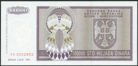 Bosnien & Herzegowina / Bosnia P.141 100.000 Dinara 1992 (1)