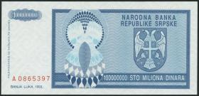 Bosnien & Herzegowina / Bosnia P.146 100.000.000 Dinara 1993 (1)