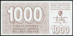 Bosnien & Herzegowina / Bosnia P.026 1000 Dinara 1992 (1)