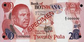Botswana P.10s2 20 Pula (1982) Specimen (1)