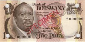 Botswana P.01s 1 Pula (1976) Specimen A/1 000000 (1)
