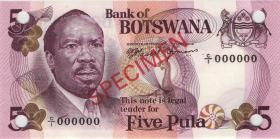 Botswana P.03s 5 Pula (1976) Specimen C/1 000000 (1)