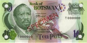 Botswana P.04s1 10 Pula (1976)  Specimen D/1 000000 (1)
