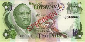 Botswana P.04s2 10 Pula (1976)  Specimen D/4 000000 (1)