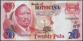 Botswana P.05b 20 Pula (1976) (1) No.000002