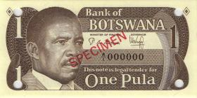 Botswana P.06s 1 Pula (1983) Specimen A/1 000000 (1)
