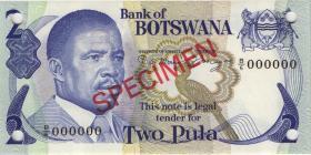 Botswana P.07s2 2 Pula (1982) Specimen B/7 000000 (1)