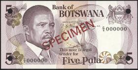 Botswana P.08s1 5 Pula (1982) Specimen C/5 000000 (1)