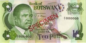 Botswana P.09s1 10 Pula (1982) Specimen D/7 000000 (1)
