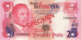 Botswana P.10s1 20 Pula (1982) Specimen E/2 000000 (1)