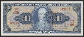 Brasilien / Brazil P.186 50 Cent- auf 500 Cruz. (1966-67) (1)