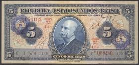 Brasilien / Brazil P.125 5 Cruzeiros auf 5 Mil Reis (1942) (3+)