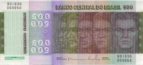 """Brasilien / Brazil P.196Ab 500 Cruzeiros 1972 (1980) """"Unabhängigkeit"""" (1)"""