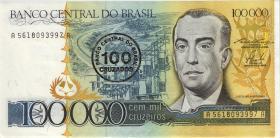 Brasilien / Brazil P.208 100 Cruzados auf 100.000 Cruzeiros (1986) (1)