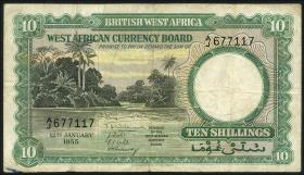 British West Africa P.09 10 Shillings 1955 (3-)