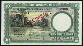 British West Africa P.09s 10 Shillings 1953 Specimen (1)