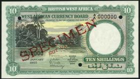 British West Africa P.09s 10 Shillings 1955 Specimen (1)
