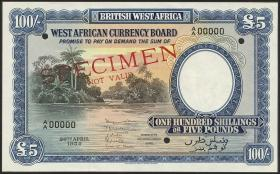 British West Africa P.11bs 100 Shillings 1954 Specimen (1)