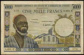 West-Afr.Staaten/West African States P.304C 5000 Francs (1961) (3-)