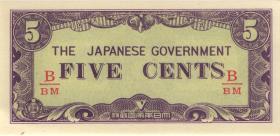 Burma P.10b 5 Cents (1942) Japan. Besetzung (1)