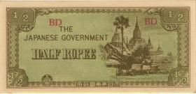 Burma P.13b 1/2 Rupie (1942) Japan. Besetzung (1)