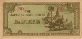 Burma P.13b 1/2 Rupie (1942) Japan. Besetzung (2)