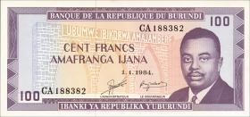 Burundi P.29b 100 Francs 1984 (1)