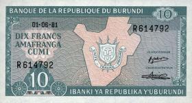 Burundi P.33a 10 Francs 1981 (1)