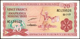 Burundi P.27a 20 Francs 1977 (1)