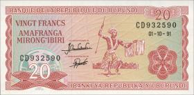 Burundi P.27c 20 Francs 1991 (1)