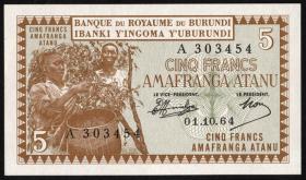 Burundi P.08 5 Francs 1.10.1964 (1)