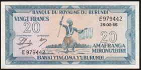 Burundi P.10 20 Francs 25.2.1965 (2/1)