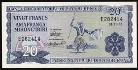 Burundi P.21a 20 Francs 1968 (1)