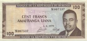 Burundi P.23b 100 Francs 1970 (2)