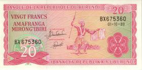 Burundi P.27b 20 Francs 1989 (1)