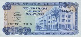 Burundi P.30a 500 Francs 1981 (1)