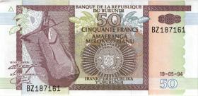 Burundi P.36a 50 Francs 1994 (1)