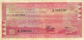Burundi P.11a 50 Francs 1.5.1965 (2/1)