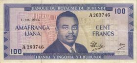 Burundi P.12a 100 Francs 1.12.1964 (4)
