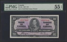 Canada P.061c 10 Dollars 1937 (1-)