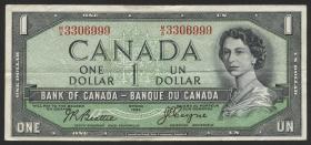 Canada P.074a 1 Dollar 1954 (1955-72) (3+)