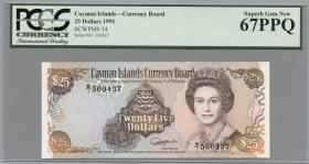 Cayman-Inseln P.14 25 Dollars 1991 (1) PMG 67
