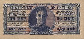 Ceylon P.43b 10 Cents 1943 (3)