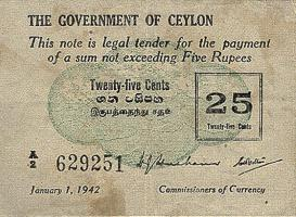 Ceylon P.40 25 Cents 1942 stains (3)