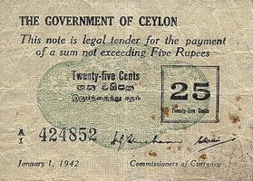 Ceylon P.40 25 Cents 1942  (4)