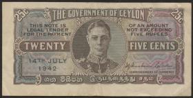 Ceylon P.44a 25 Cents 1942 (3)