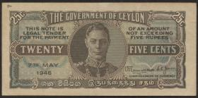 Ceylon P.44b 25 Cents 1946 (3+)