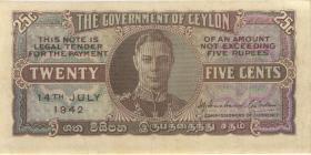 Ceylon P.44a 25 Cents 1942 (2)