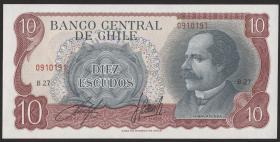 Chile P.142A 10 Escudos (1967-76) (2+)