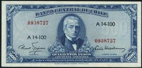 Chile P.128 50 Centesimos auf 500 Pesos (1960-61) (1)